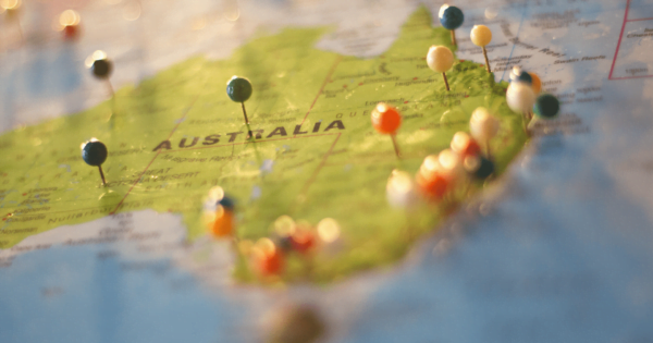 pins on the map of Australia