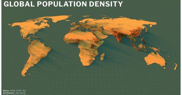 Global population density map