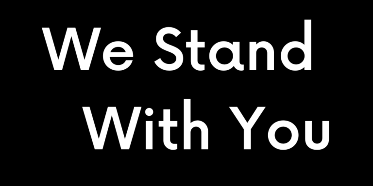 We Stand With You banner