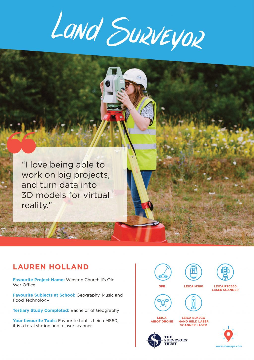 a poster showing land surveyor Lauren Holland and information about her work