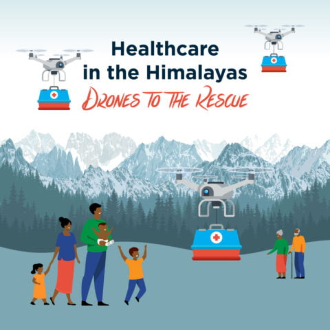 delivery drones fly over a Himalayan family and elderly couple