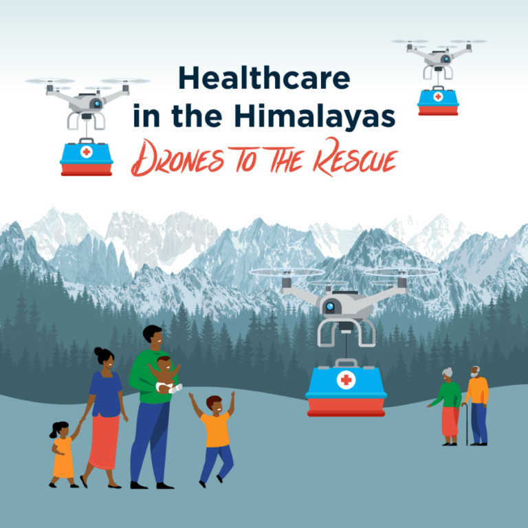 Himalayan family and elderly couple happily watch delivery drones hover like helicopters