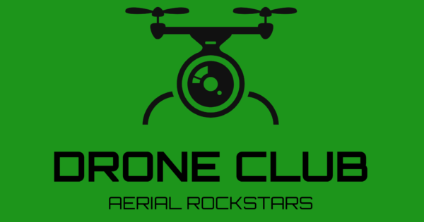 a green banner displaying a drone image and drone club aerial rockstars text logo