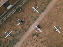 Aerial photo of planes on the ground