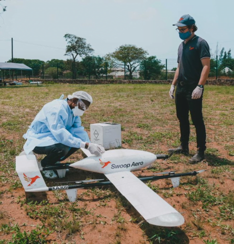 Swoop Aero team in the field to operate a large medical drone