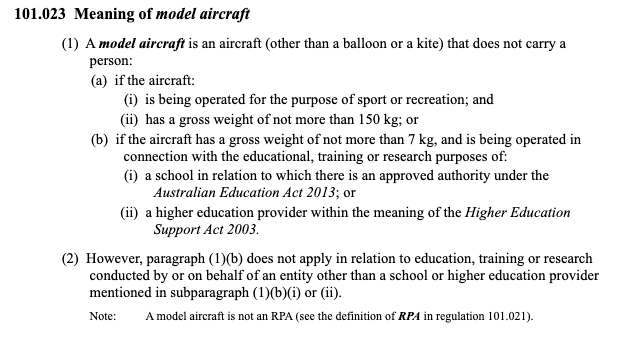 CASA's meaning of model aircraft definition