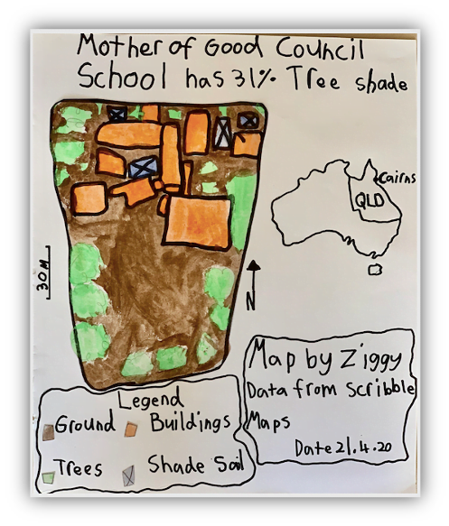 map of mother of good council school that shows it only has 31% tree shade