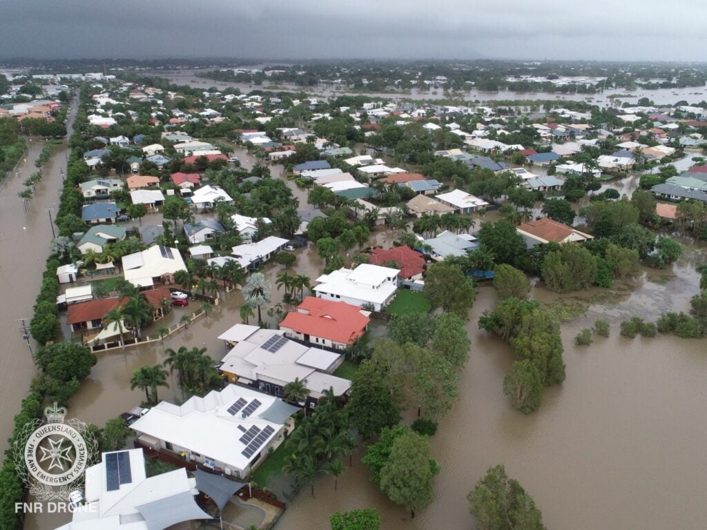 drone image of flooded townsville suburbs supplied by joanne thomson qfes