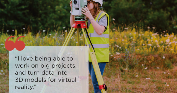 a photo showing a direct quote from a female surveyor using her tripod and equipment to do some field work